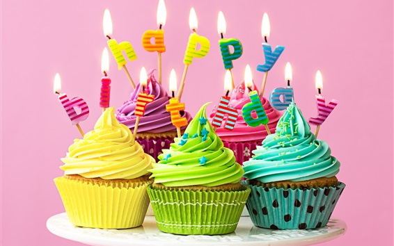 Wallpaper Happy Birthday, candles, fire, colorful cupcakes