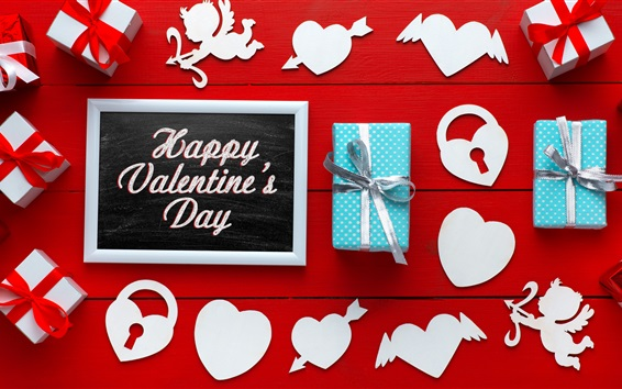 Wallpaper Happy Valentines Day, gifts, love hearts