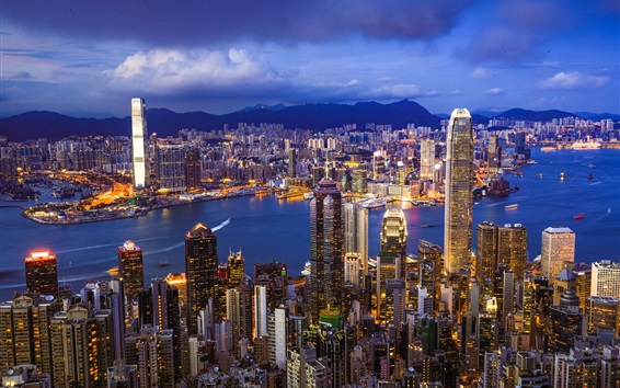 Wallpaper Hong Kong, skyline, city, night, skyscrapers, lights
