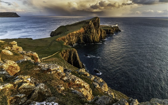 Wallpaper Isle of Skye, Scotland, lighthouse, sea