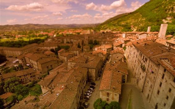 Fondos de pantalla Italia, Gubbio, ciudad, techo, coches