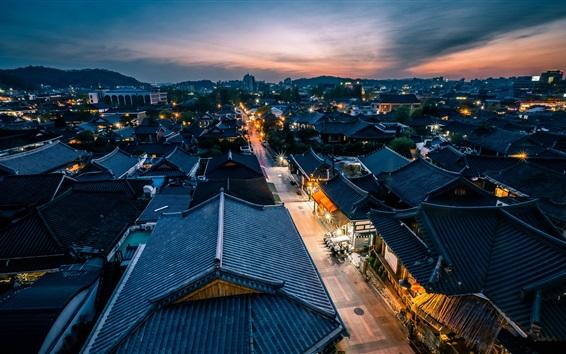 Fond d'écran Jeonju, Corée du Sud, nuit, maisons, lumières