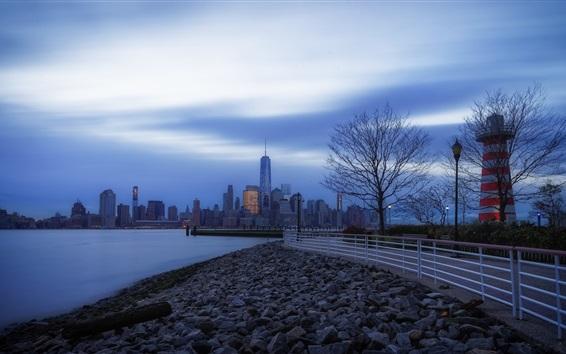Wallpaper Jersey City, USA, morning, fog, fence, stones