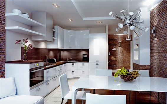 Wallpaper Kitchen, white style, dining room, interior