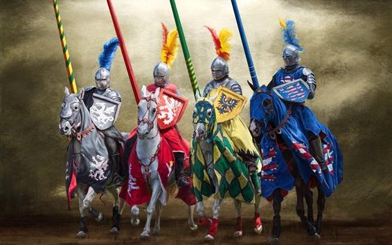Fondos de pantalla Caballero, caballo, armadura, escudo, lanza