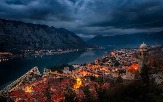 Fondos de pantalla Kotor, Montenegro, bahía, fiordo, ciudad, casas