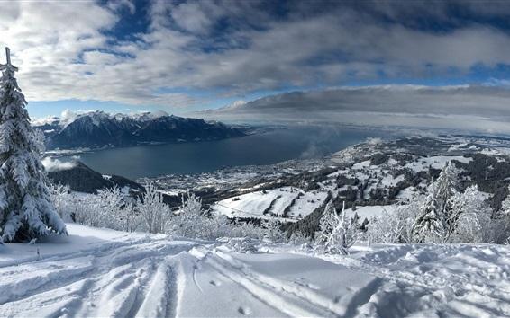 Papéis de Parede Lago de Genebra, Suíça, Alpes, neve espessa, montanhas, inverno