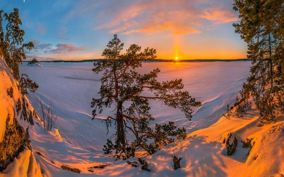 Wallpaper Lake Ladoga, Russia, snow, winter, trees, sunset
