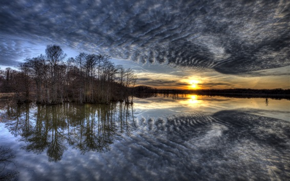 Wallpaper Lake, trees, clouds, sunrise, morning