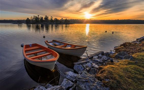 Wallpaper Lake, two boats, sunset