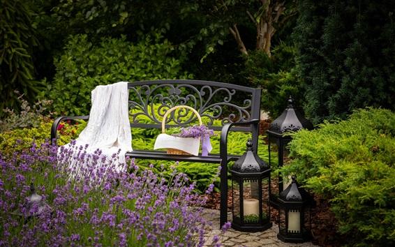 壁紙 ラベンダーの花、ベンチ、庭
