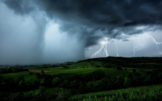Fondos de pantalla Rayo, nubes negras, tormenta, campos