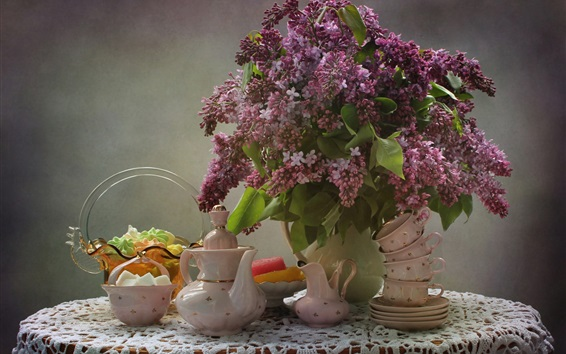 Wallpaper Lilac flowers, tea cup, tea kettle