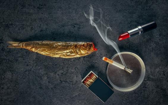 Fond d'écran Rouge à lèvres, poisson, cigarette, fumée