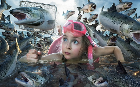 Wallpaper Little girl and many fish, creative picture