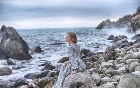 Wallpaper Lonely girl, stones, sea