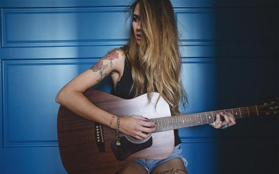 Wallpaper Long hair girl play guitar, tattoo