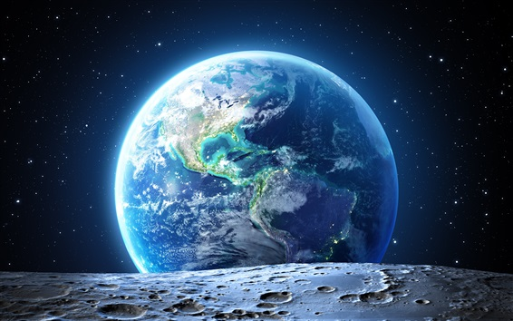 Wallpaper Look earth from the moon