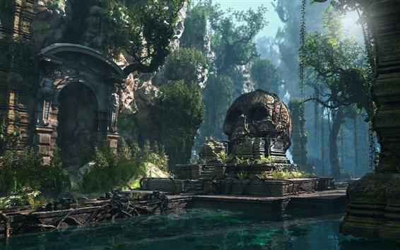 Wallpaper Lost Civilization, skull, pond, forest, PC game