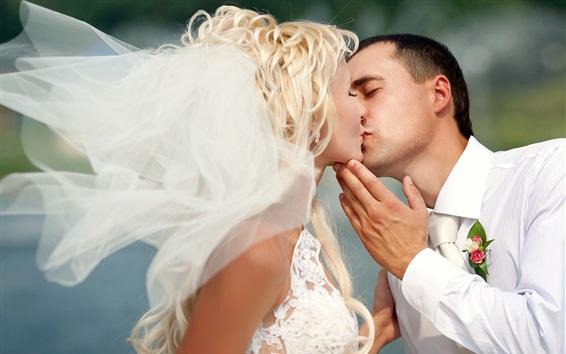 Wallpaper Love kiss, wedding, bride, man