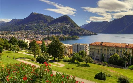 Wallpaper Lugano, lake, city, houses, mountains, Ticino, Switzerland