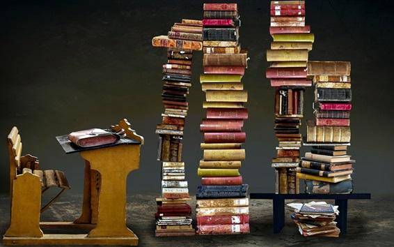 Обои Много книг, высокая куча