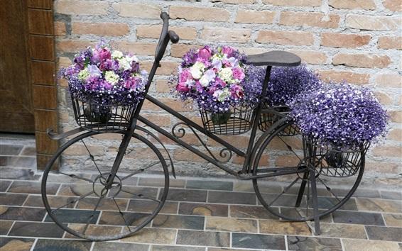 Papéis de Parede Muitas flores, bicicleta