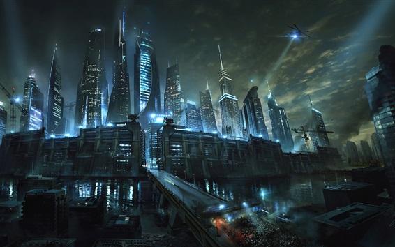 Обои Лабиринт Runner: The Death Cure, город, река, небоскребы