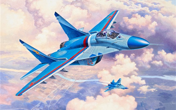 Wallpaper MiG-29S fighter, art picture