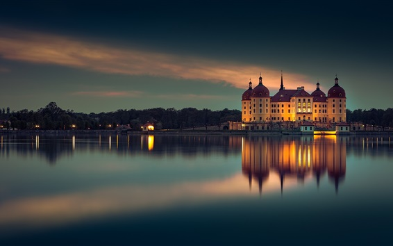 Wallpaper Moritzburg, Germany, evening, lake, buildings, lights, night