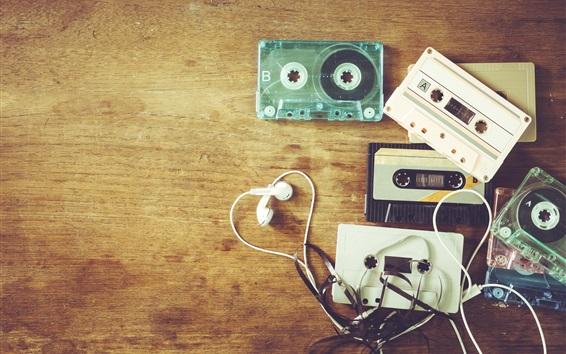 Papéis de Parede Tema de música, fones de ouvido, cassetes, retro