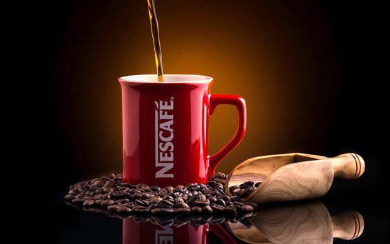 Wallpaper Nescafe, coffee, coffee beans, red cup