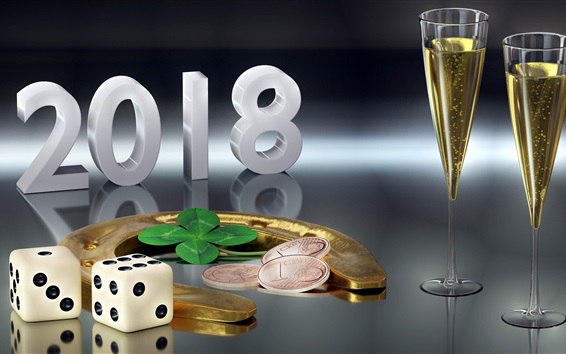 Wallpaper New Year 2018, gold horseshoe, glass cups, coins