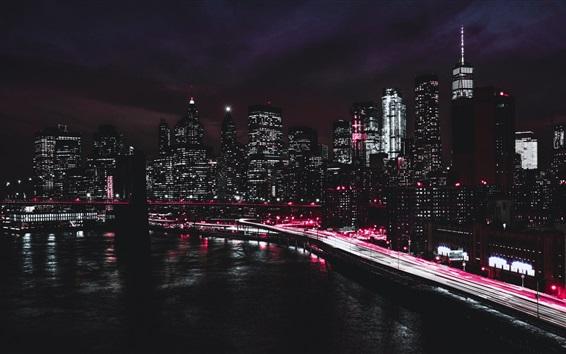壁紙 ニューヨーク、ブルックリン橋、遊歩道、道路、高層ビル、ライト、夜