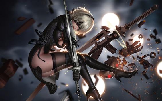壁紙 ニーア オートマタ、女の子、剣、戦い