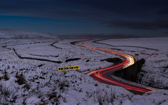 Wallpaper Night, road, light lines, snow, winter