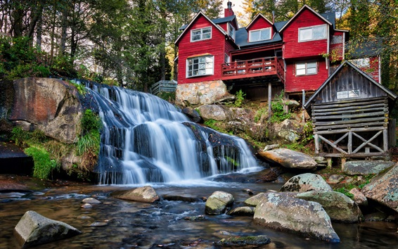 Fond d'écran Caroline du Nord, États-Unis, cascade, maisons en bois
