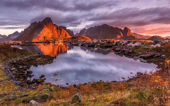 Wallpaper Norway, Lofoten, houses, mountains, clouds, bay, lake, dusk