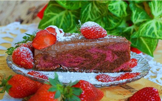 Papéis de Parede Um pedaço de bolo, em pó, morango