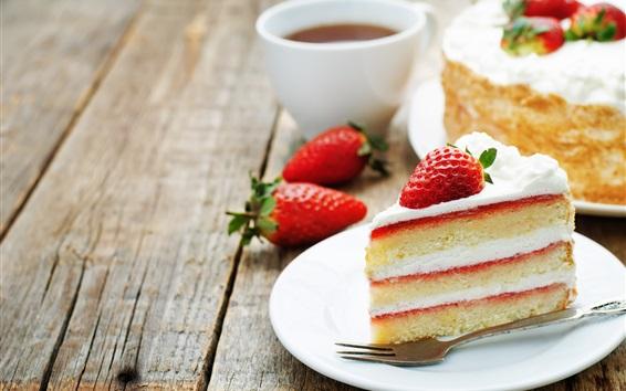 Wallpaper One piece of cake, strawberry, dessert