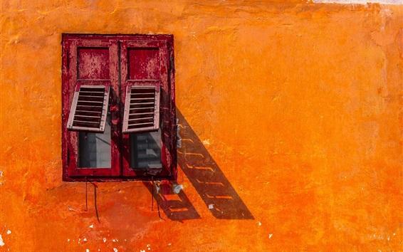 Wallpaper Orange wall, window, shadow