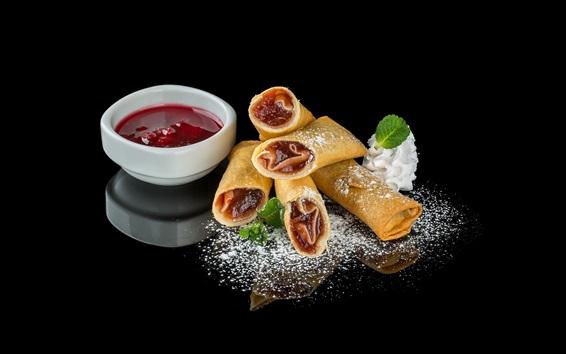 Wallpaper Pancake rolls, jam, food, black background