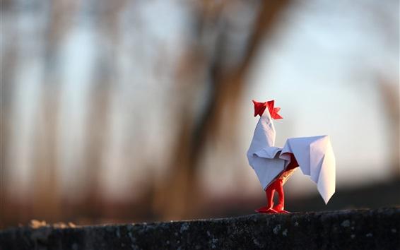 Fond d'écran Coq de papier, art origami