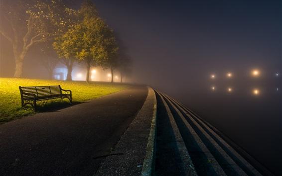 Wallpaper Park, night, road, bench, trees, fog