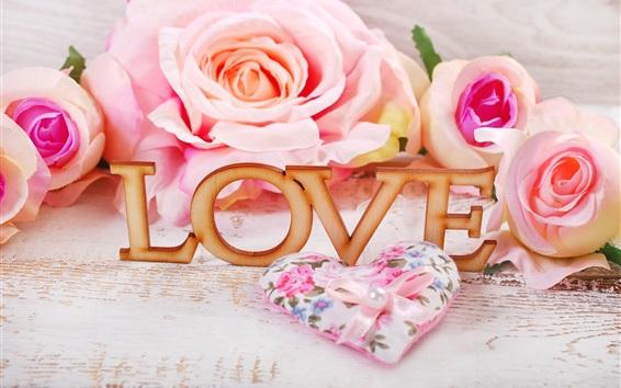 Wallpaper Pink roses, Love, romantic