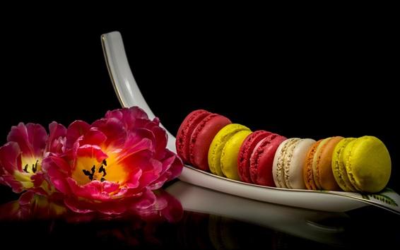 Wallpaper Pink tulips, cake, macaroon