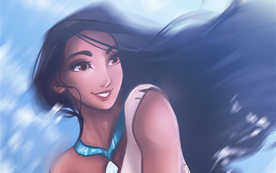 Wallpaper Pocahontas, cartoon girl