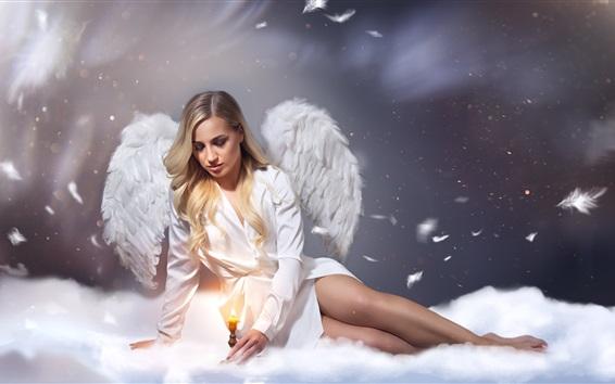 Fond d'écran Polina Taran, ange, ailes, bougie