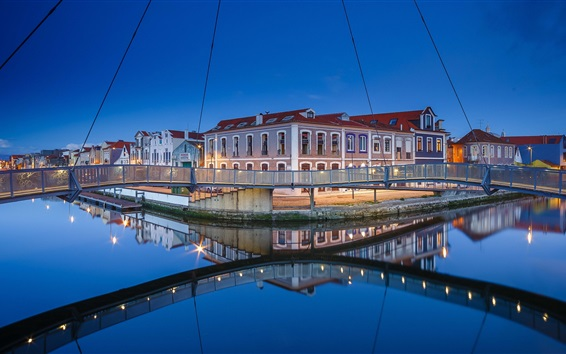 Wallpaper Portugal, Aveiro, river, bridge, city, night, lights