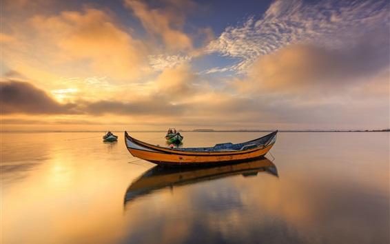 Wallpaper Portugal, boats, sea, clouds, dusk